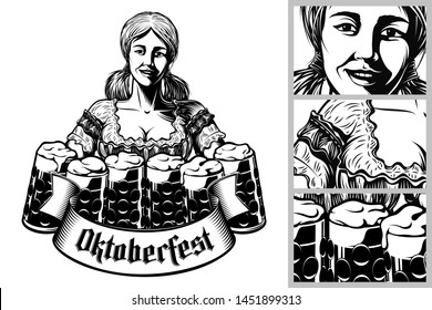 Oktoberfest girl waitress holding mugs of beer in traditional bavarian dirndl. Ribbon with gothic lettering Oktoberfest. Vector vintage graphic illustration in retro engraving black inked print style.