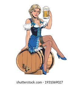 Oktoberfest girl wearing a traditional Bavarian dirndl costume, sitting on a beer barrel and holding a beer mug. Young sexy blonde german woman. Pin up style vector illustration.