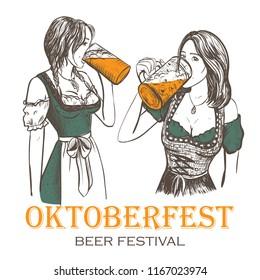 Oktoberfest girls drink beer from mugs. Oktoberfest beer festival vector illustration