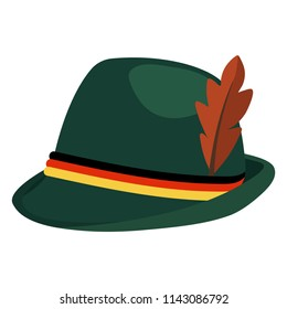 Oktoberfest Green Alpine Hat - Traditional Oktoberfest alpine hat made of green felt with black, red, and gold cords and brown feather isolated on white background