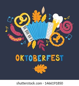 Oktoberfest greeting card with accordion, pretzel, beer, sausage, leaves, notes, music, glass on dark background. Perfect for food and beer festival posters
