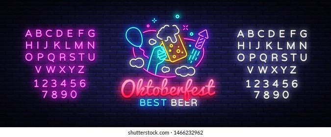 Oktoberfest greeting card. Oktobefest neon sign Design template event celebration. Beer Festival neon banner vector design for invitations and posters. Editing text neon sign