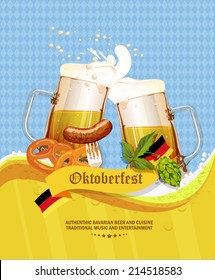 Oktoberfest greeting card. Poster with mug of beer, hops, pretzels, sausages, beer foam, flag of Germany on background of blue rhombuses. Vector illustration.