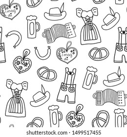 Oktoberfest hand drawn cartoon doodle seamless vector pattern. Oktoberfest repeating background. Traditional German icons. Bavarian beer, Lederhosen, Dirndl, gingerbread heart, sausage, pretzels