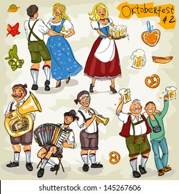 Oktoberfest - hand drawn clip art collection  - part 2. Sketch, isolated