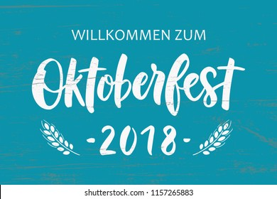 Oktoberfest - hand drawn lettering typography. Oktoberfest logotype. Oktoberfest festival banner. For invitation, card, print, brochures, poster, t-shirts, mugs. Vector illustration.