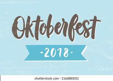 Oktoberfest - hand drawn lettering typography. Oktoberfest logotype. Oktoberfest festival banner. For invitation, card, print, brochures, poster. Vector illustration.
