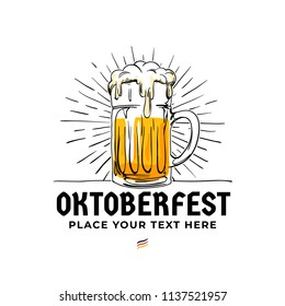 Oktoberfest hand drawn logo badge. Old style full glass of beer with sun rays background illustration for Munich beer festival concept design. Poster, banner, sticker, advertising vector template.