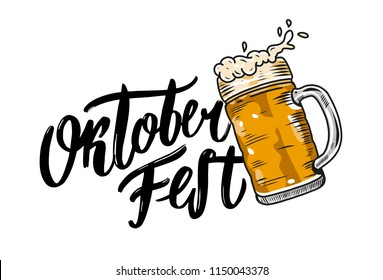 Oktoberfest hand drawn vector lettering and beer glass. Modern brush calligraphy. Isolated on white background.