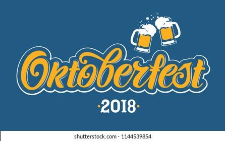 Oktoberfest handwritten lettering. Oktoberfest typography vector design for greeting cards and poster. Beer Festival vector banner. Design template celebration. Vector illustration.