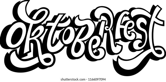 Oktoberfest handwritten lettering. Oktoberfest typography vector design for greeting cards and poster. Beer Festival vector banner. Design template celebration. Vector illustration.