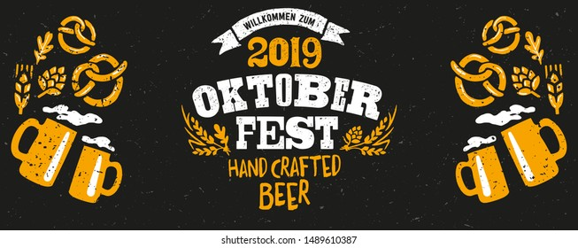 Oktoberfest handwritten typography header for signboard, greeting, invitation poster and card. Beer festival celebrated in October in Germany. Big folk festivities in Bavaria.