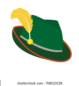 Oktoberfest hat icon flat style. Isolated on white background. Green national German hat. Vector illustration