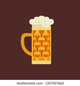 Oktoberfest holiday event celebration flat design element. Bavarian beers festival vector background illustration. German one-litre glass stein cold beer funky cartoon. Traditional brewery drinks mug