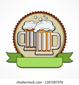 Oktoberfest icon, beer glass mug with froth on beer in round. Vector illustration.