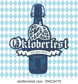 Oktoberfest icon. Drink menu. Vector illustration with beer bottle in sketch style for pub. Alcoholic festival beverages on blue chess background.