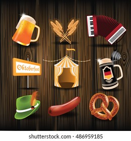 Oktoberfest icon set with sausage, pretzel and beer. EPS 10 vector.