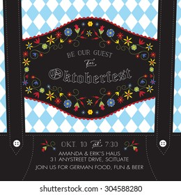 Oktoberfest Invitation Template with Lederhosen Suspenders, Flowers, and Bavarian Flag - Vector