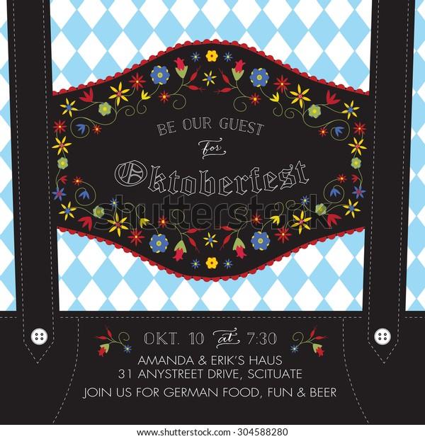 Oktoberfest Invitation Template Lederhosen Suspenders Flowers Stock