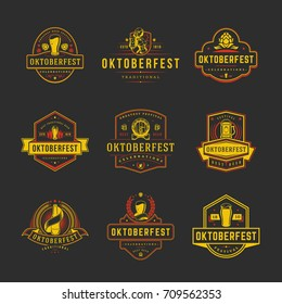 Oktoberfest labels, badges and logos set Beer festival celebrations text. Vector illustration. Good for Posters,Greeting Cards.