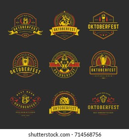 Oktoberfest labels, badges and logos set beer festival celebration text. Vector illustration.