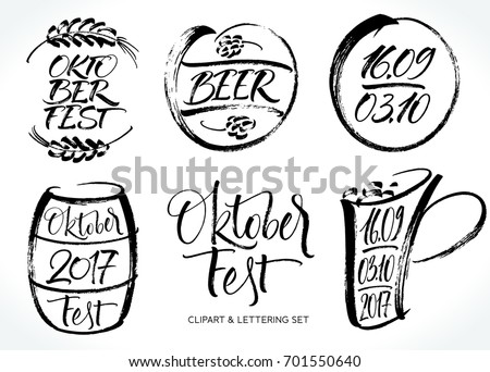 Oktoberfest Lettering Clipart Set Modern Calligraphy Stock Vector