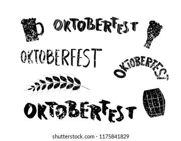 Oktoberfest lettering composition set . Handwritten textured text with  decoration. Vector illustration.