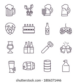 oktoberfest line style icons collection design, Germany festival and celebration theme Vector illustration