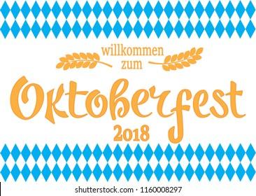 Oktoberfest logotype. Beer Festival vector banner. Illustration of Bavarian festival design on textured background. Blue, white lettering typography for logo, poster, card, postcard