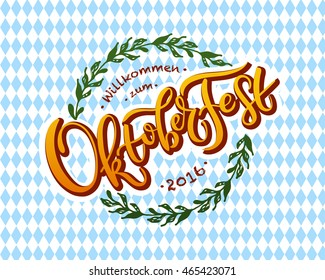 Oktoberfest logotype. Beer Festival vector banner. Illustration of Bavarian festival design on textured background with floral wreath. Blue, white lettering typography for logo, poster, card, postcard