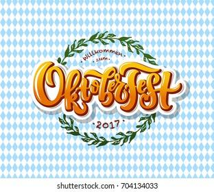 Oktoberfest logotype. Beer Festival vector banner. Illustration of Bavarian festival design on textured background with floral wreath. Blue, white lettering typography for logo, poster, card, postcard