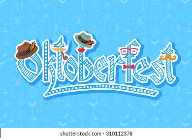 Oktoberfest logotype. Hipster Beer Festival vector banner. Illustration of Bavarian festival design on background with floral wreath. Blue, white lettering typography for logo, poster, card, postcard