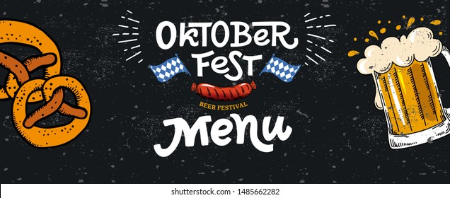 Oktoberfest menu horizontal web banner. Vector flat color illustration for German beer festival in Munich. Lettering with mug beer, sausage, pretzel and Bavarian flag. Cracks can be removed