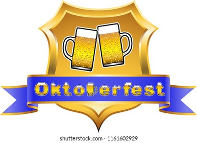Oktoberfest motif with coat of arms and banderole