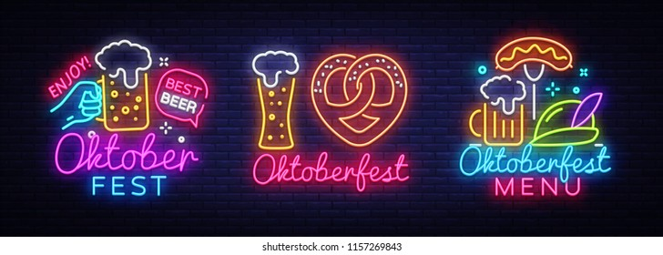 Oktoberfest Neon Emblems collection Vector. Oktoberfest Beer Festival neon sign, design template, modern trend design, night neon signboard, night bright advertising, light banner, light art. Vector