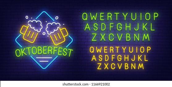 Oktoberfest neon sign, bright signboard, light banner.  Beer party logo. Neon sign creator. Neon text edit