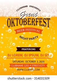 Oktoberfest night party flyer design template, vector illustration. Beer festival party poster