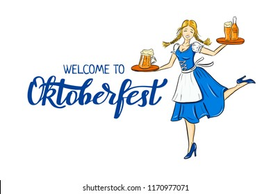 Oktoberfest outline illustration of smiling girl in traditional german costume with beer on tray. Dancing bavarian waitress for holiday poster, banner. logo, icon, invitation, greeting card. Lettering