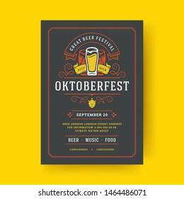 Oktoberfest party flyer or poster vintage typography template design willkommen zum invitation beer festival celebration vector illustration. Beer mug symbol with ornaments decoration.