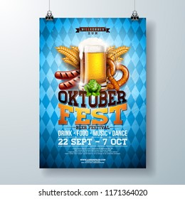 Oktoberfest party poster illustration with fresh lager beer, pretzel, sausage and wheat on blue and white Bavaria flag background. Vector celebration flyer template for traditional German beer