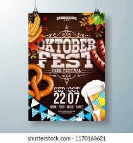 Oktoberfest party poster vector illustration with typography letter, fresh beer, pretzel, sausage and falling autumn leaves on wood texture background. Celebration flyer template for traditional