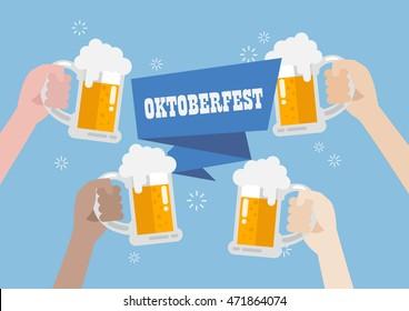 Oktoberfest. People clinking beer glasses.