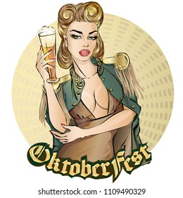 Oktoberfest pin-up woman with beer. Oktoberfest logo, banner, hand drawn vector illustration background art