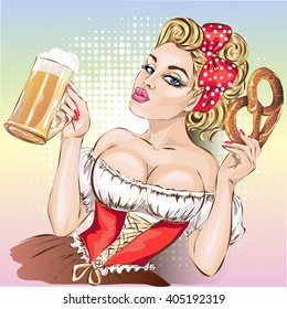 Oktoberfest pin-up woman with beer and pretzel wearing german traditional dress dirndl. hand drawn vector illustration background