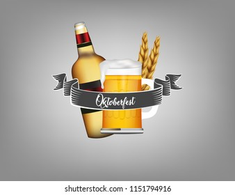 Oktoberfest poster, flyer, greeting card and banner design illustration with fresh lager beer and pretzel. Vector illustration.