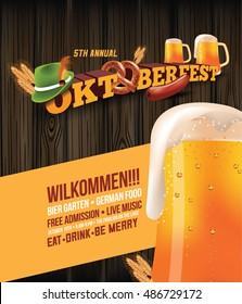 Oktoberfest poster with sausage, pretzel and beer. EPS 10 vector.