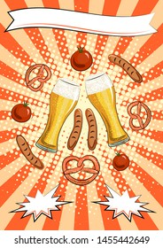 Oktoberfest poster template: pints with light beer, pretzels, sausages, tomatoes, place for text. Germany. Munich. Celebration. Beer snacks. Bakery. Meat. Orange background Pop art. A pub. Bar.