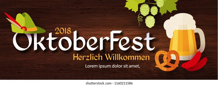 Oktoberfest Poster Template. Traditional Beer Festival. Vector illustration