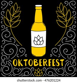 Oktoberfest poster vector for beer bar, party or pub menu. Cold bottle, malt frame and hop hand drawn in vintage style. Bavarian festive sketch illustration.