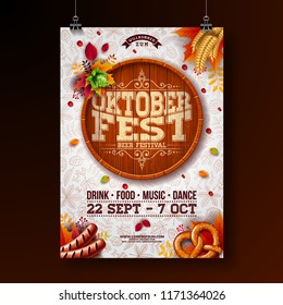Oktoberfest poster vector illustration with beer barrel, pretzel, sausage and falling autumn leaves on light doodle pattern background. Celebration flyer template for traditional German beer festival.